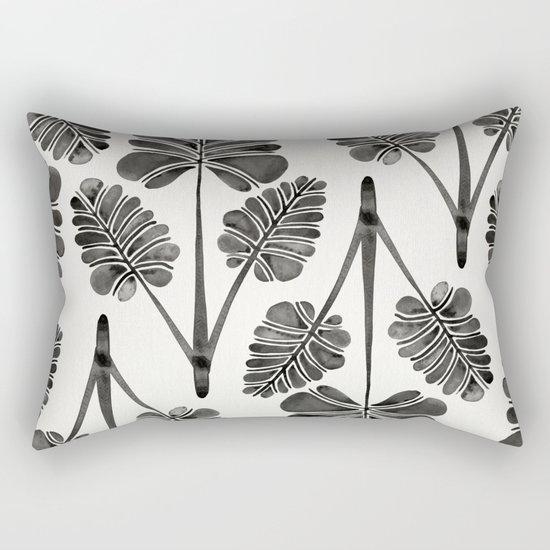 Tropical Palm Leaf Trifecta – Black Palette Rectangular Pillow
