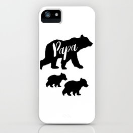 Papa Bear T Shirt with Two Cubs iPhone Case