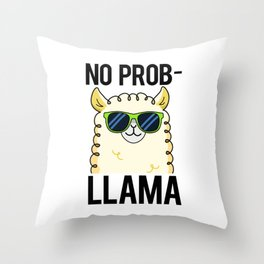 No Pro-llama Cute Llama Animal Pun Throw Pillow