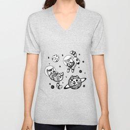 Kitty Cats Flying in Space - Kittens Unisex V-Neck