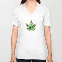 cannabis V-neck T-shirts featuring Cannabis Leaf by Teo Sharkson