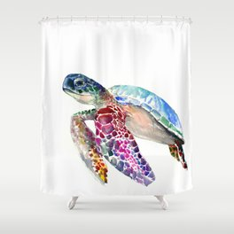 Sea Turtle, swimming turtle art, purple blue design animal art Shower Curtain