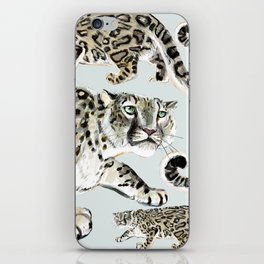 Snow leopard in ice grey iPhone Skin