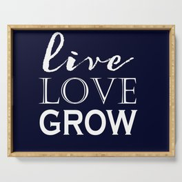 Live Love Grow - Navy Blue and White Serving Tray