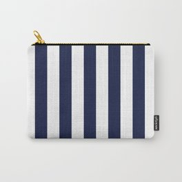 Maritime pattern- darkblue stripes on clear white- vertical Carry-All Pouch