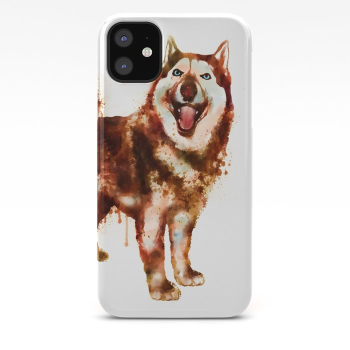 Husky Dog Watercolor Painting Iphone Case By Marianvoicu