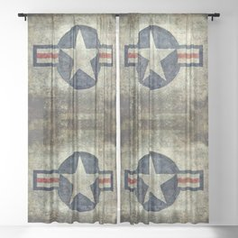 Stylized US Air force Roundel Sheer Curtain