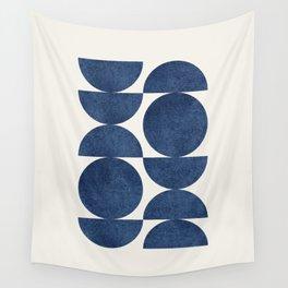 Blue navy retro scandinavian Mid century modern Wandbehang