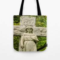 religious Tote Bags featuring Religious Statue by Michael P. Moriarty