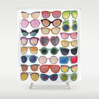 sunglasses Shower Curtains featuring Sunglasses by Veronique de Jong · illustration