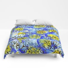 Blue and Yellow Floral Pansies Comforters