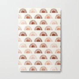 block print suns - terra cotta neutrals Metal Print