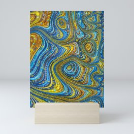dar - intricate abstract design yellow gold and turquoise Mini Art Print