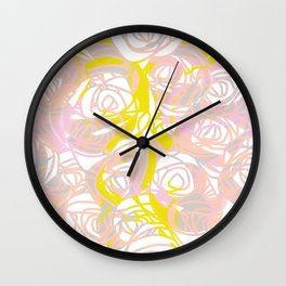 Pale Pink and Yellow Roses Wall Clock