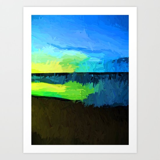 Yellow and Green Sun on the Blue Sea Art Print