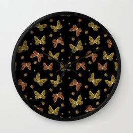 Insects Motif Pattern Wall Clock