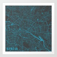berlin Art Prints featuring Berlin by Map Map Maps