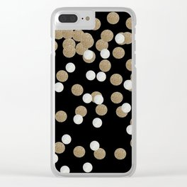 Glamorous chic New year eve party minimalist black gold confetti Clear iPhone Case