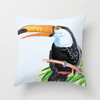 toucan Throw Pillows featuring Toucan by The Traveling Catburys