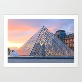 Pink Skies at Sunset - Louvre Art Print