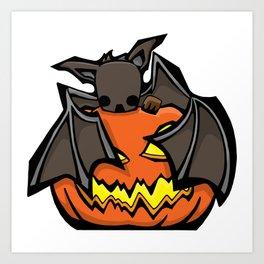 Bat and Jack O'Lantern | Halloween Series | DopeyArt Art Print