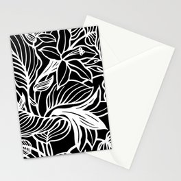 Black White Floral Stationery Cards