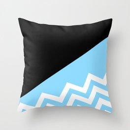 White on Blue Throw Pillow