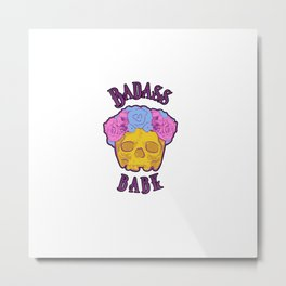 Badass Babe Flower Crown Skull Print Metal Print