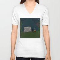 camping V-neck T-shirts featuring Camping Feelings by LeahOwen
