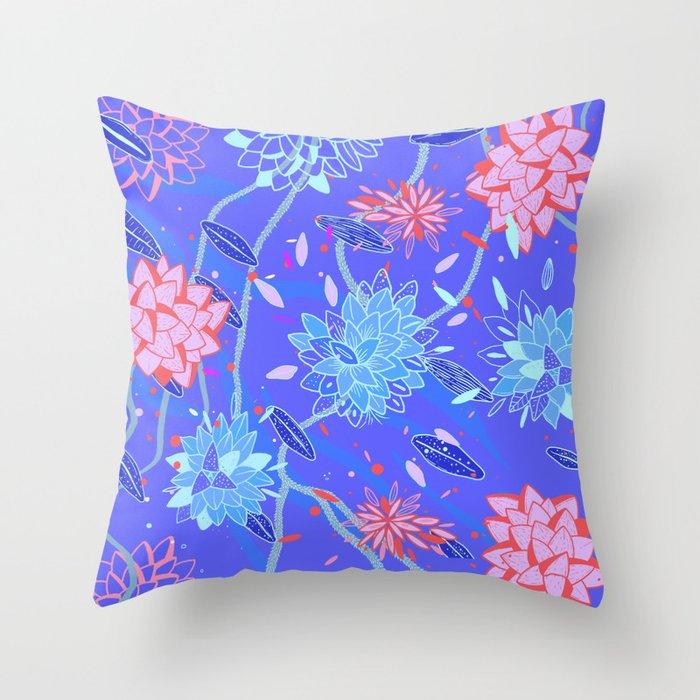 Heroinax Freaky Flowers Throw Pillow