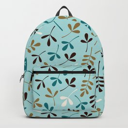 Assorted Leaf Silhouettes Teals Cream Brown Gold Backpack