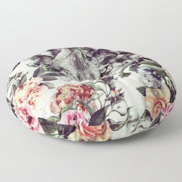 Floral Wolf Floor Pillow