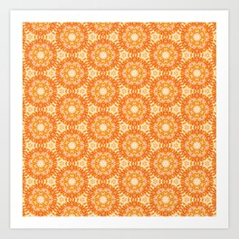 Marigold Kaleidoscope Peach and Burnt Sienna Art Print