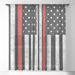Thin Red Line Sheer Curtain