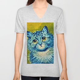 BLUE CAT - Louis Wain Art Unisex V-Neck