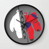 baymax Wall Clocks featuring BAYMAX by Sarah Anne Cimaglio