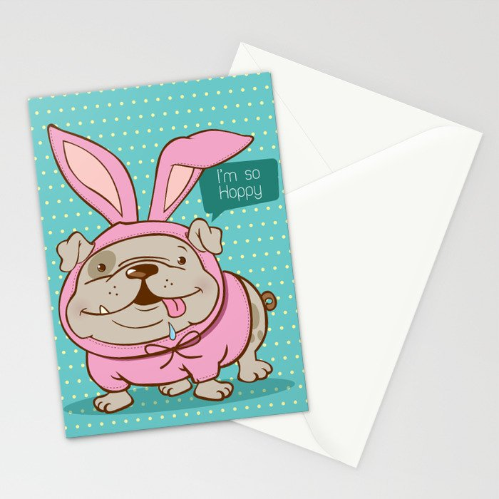 A hoppy bulldog! Stationery Cards