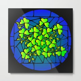 Stained Glass Shamrocks Metal Print
