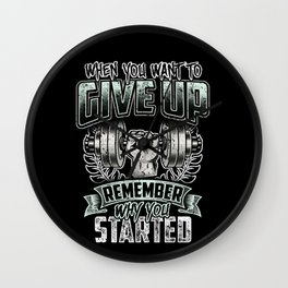 Never Give Up - Fitness Training Gym Motivation Wall Clock