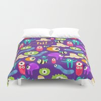 monsters Duvet Covers featuring monsters by Ceren Aksu Dikenci