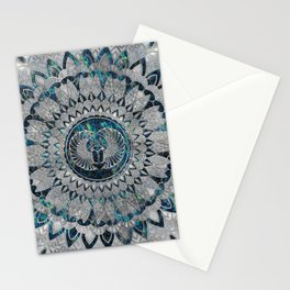 Egyptian Scarab Beetle Silver and Abalone Stationery Cards