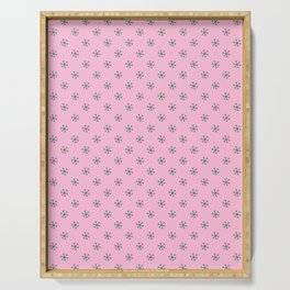 Cadmium Green on Cotton Candy Pink Snowflakes Serving Tray