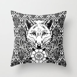 fox damask Throw Pillow
