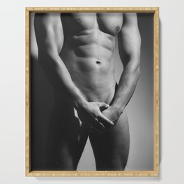 sexy naked man with amazing body Serving Tray