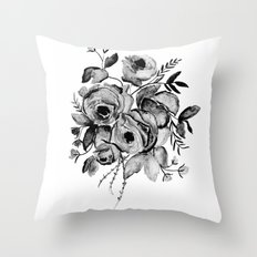 GREYSCALE ROSES Throw Pillow