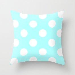 Large Polka Dots - White on Celeste Cyan Throw Pillow