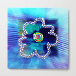 Blue and line flower Metal Print