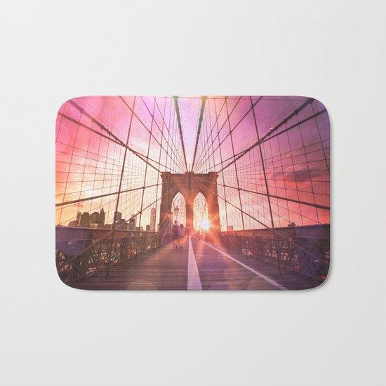 New York City Brooklyn Bridge Sunset Bath Mat