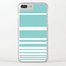 Scandi Pastel Mint Stripes Clear iPhone Case