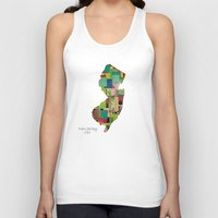 new jersey Tank Tops featuring New Jersey state map by bri.buckley
